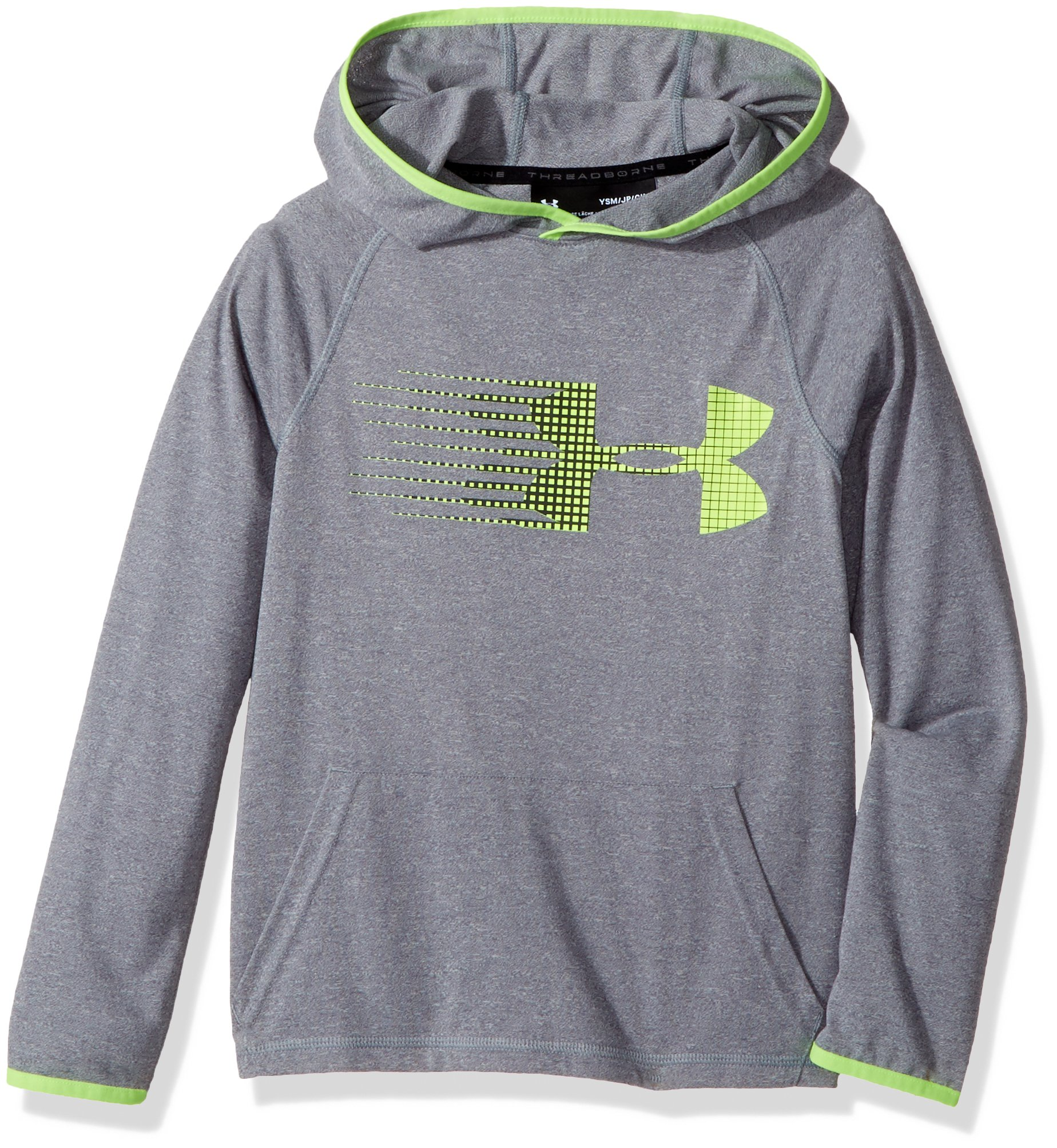 Under Armour Boys' Threadborne Hoodie,Graphite /Quirky Lime, Youth Small