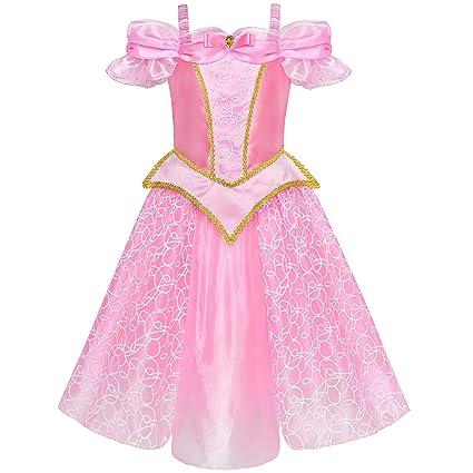 Sunny Fashion Vestido para niña Princesa Disfraz Arriba Rosa 4 años