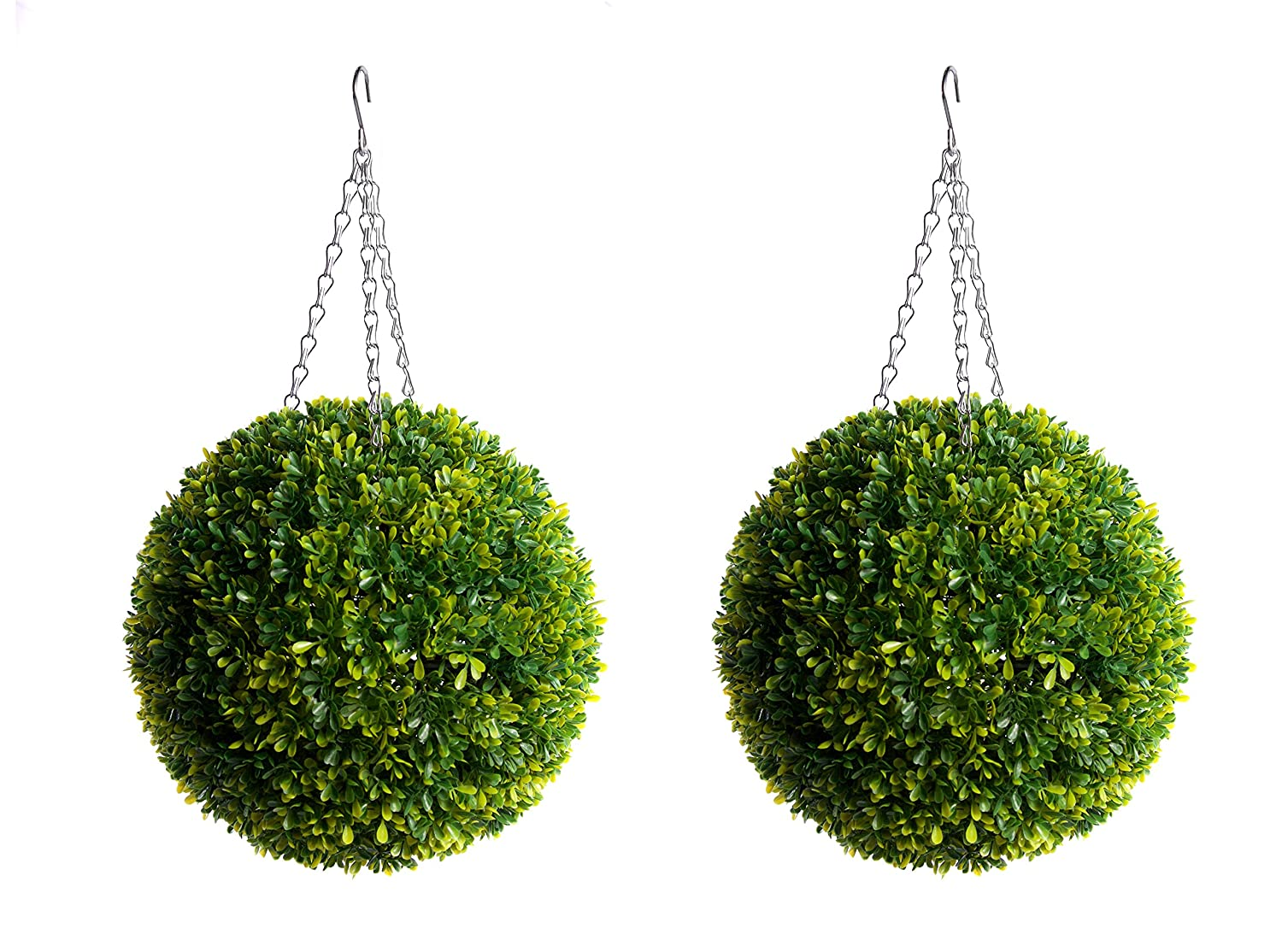 Best Artificial 2 30cm Long Leaf Boxwood Buxus Topiary Lush Green Grass Balls