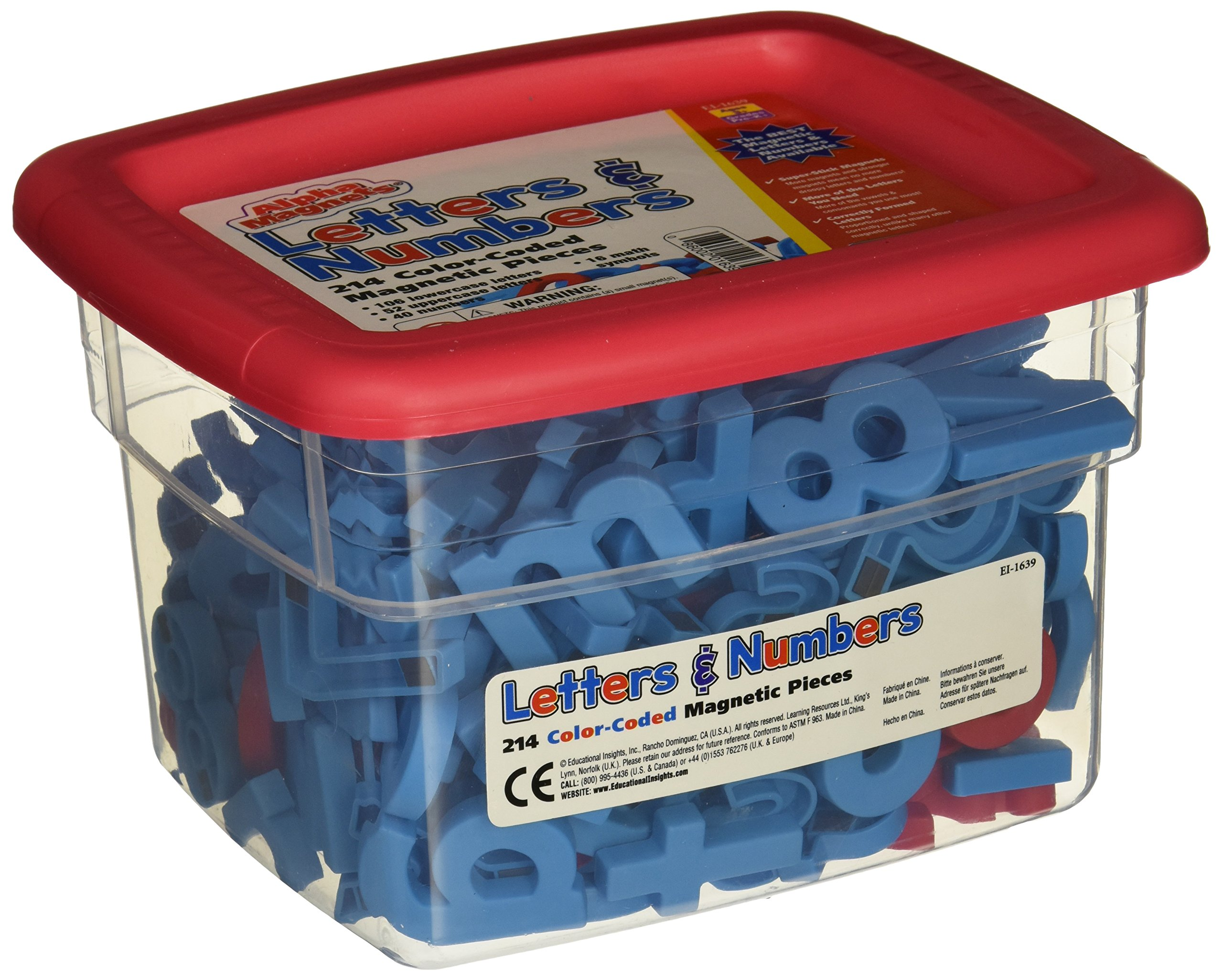 School Smart Educational Insights Alphamagnets & Mathmagnets, Red and Blue, 214 Pieces - 070621
