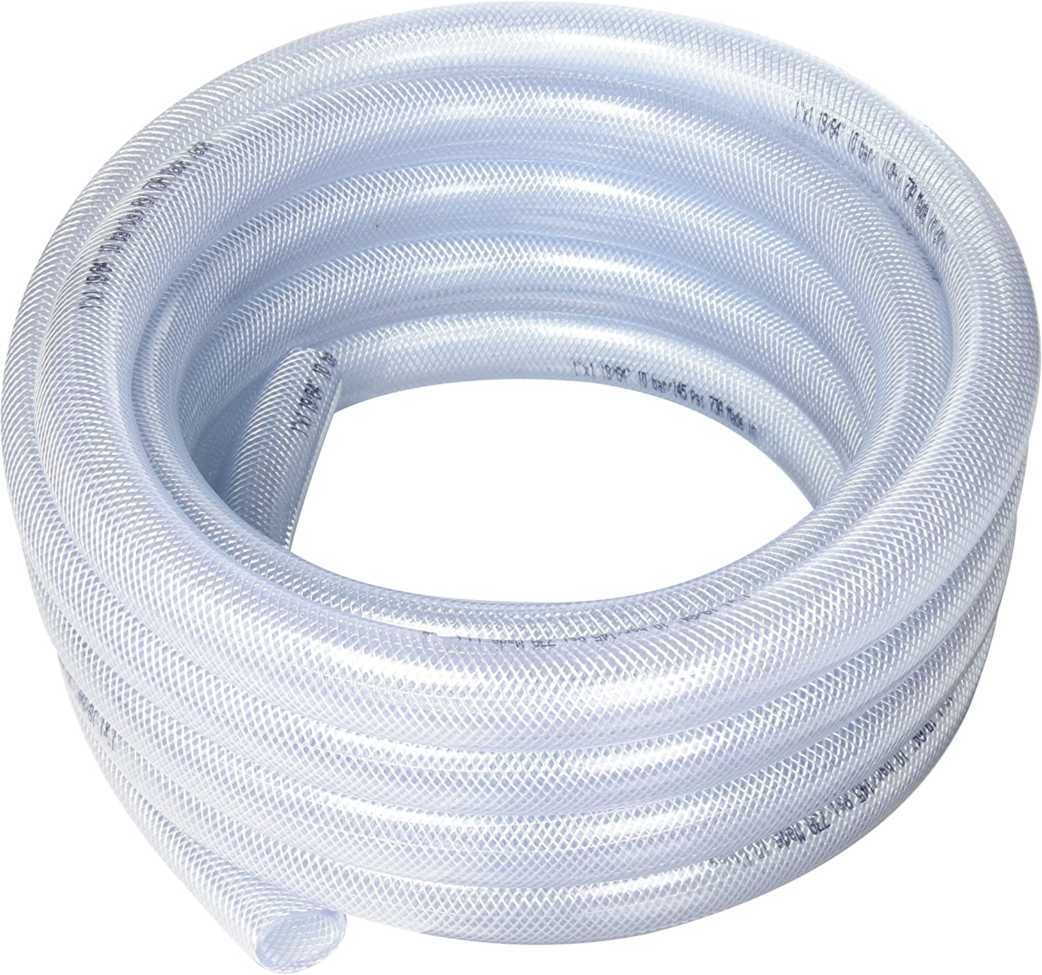 "Duda Energy HPpvc100-025ft 25' x 1"" ID High Pressure Braided Clear Flexible PVC Tubing Heavy Duty UV Chemical Resistant Vinyl Hose Water Oil"