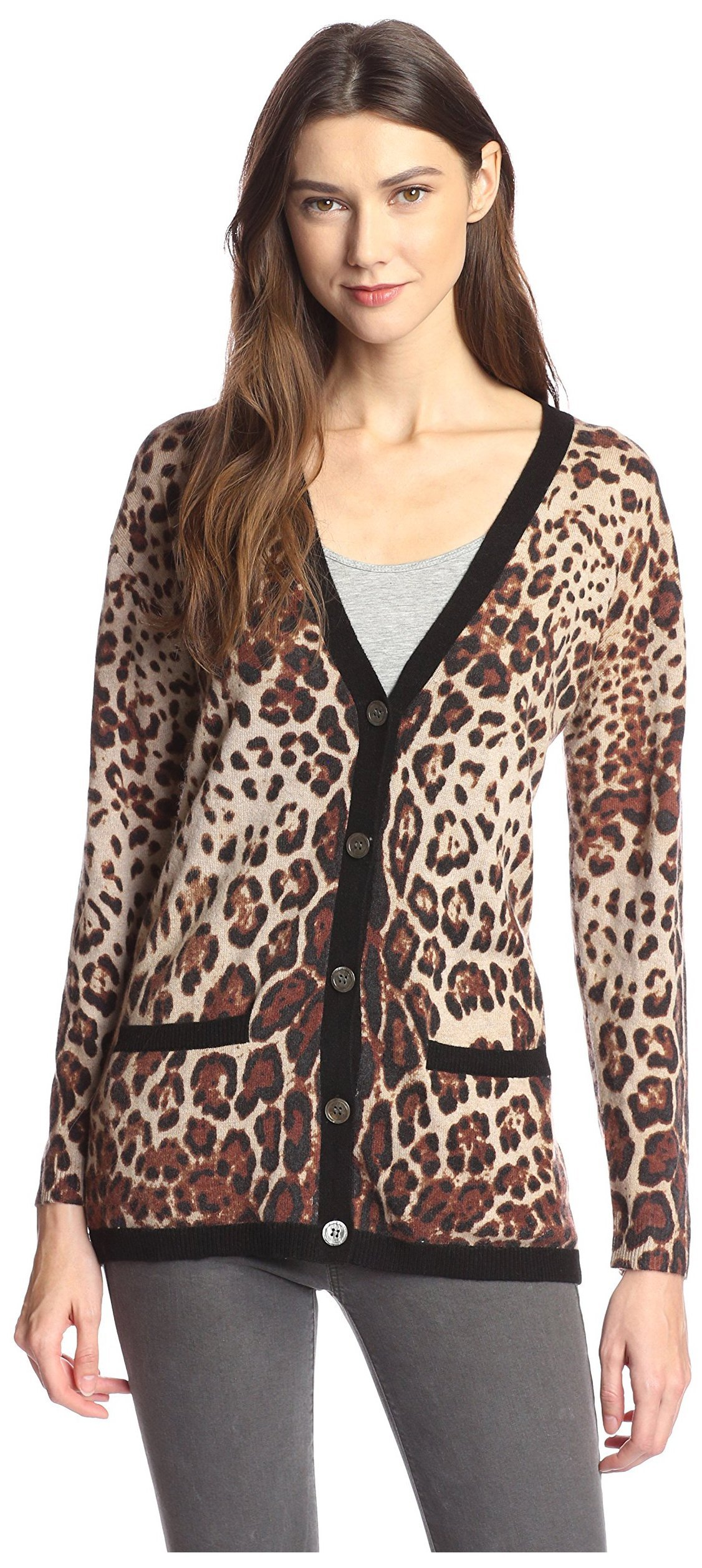 James & Erin Women's Cashmere Leopard Cardigan, Natural Multi, L