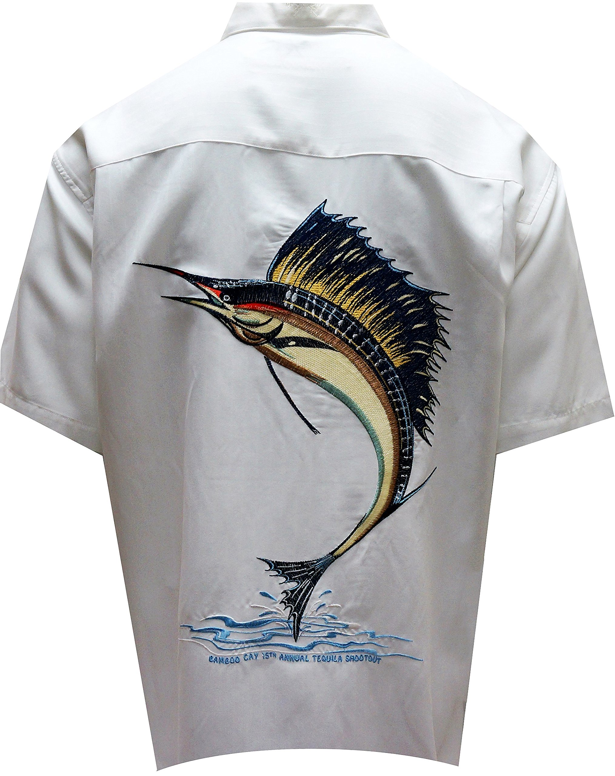 Bamboo Cay Men's Sailfish Freedom, Tropical Style Back Embroidered Hawaiian Shirt (3XL, Off White) by Bamboo Cay (Image #1)