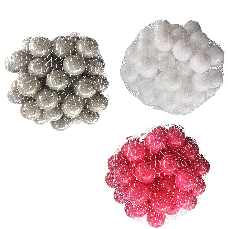150 Bälle für Bällebad gemischt mix mit pink, weiß und grau mybällebad
