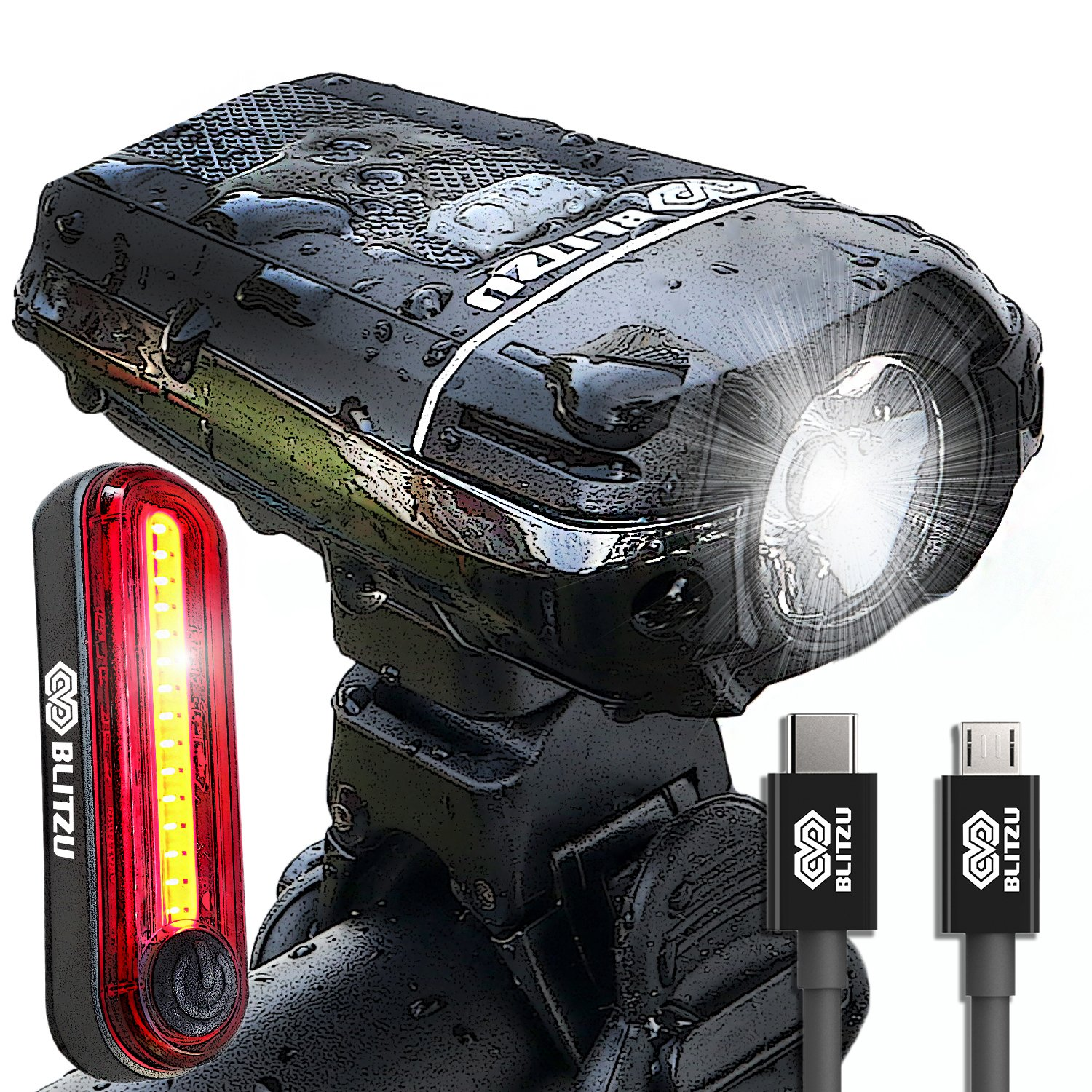 BLITZU Gator 380 USB Rechargeable Bike Light Set POWERFUL Lumens Bicycle Headlight FREE TAIL LIGHT, LED Front and Back Rear Lights Easy To Install for Kids Men Women Road Cycling Safety Flashlight by BLITZU (Image #1)