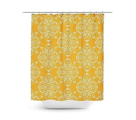 Yellow Retro Damask Shower Curtain   36x72 Stall