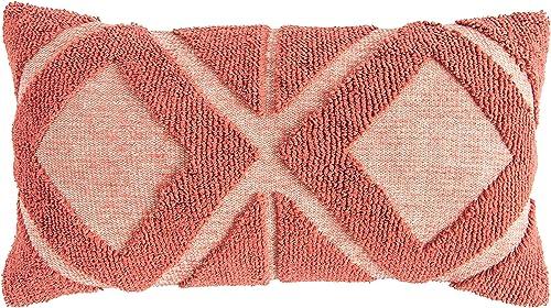 Creative Co-op Coral Cotton Blend Chenille Lumbar Pillows, Pink