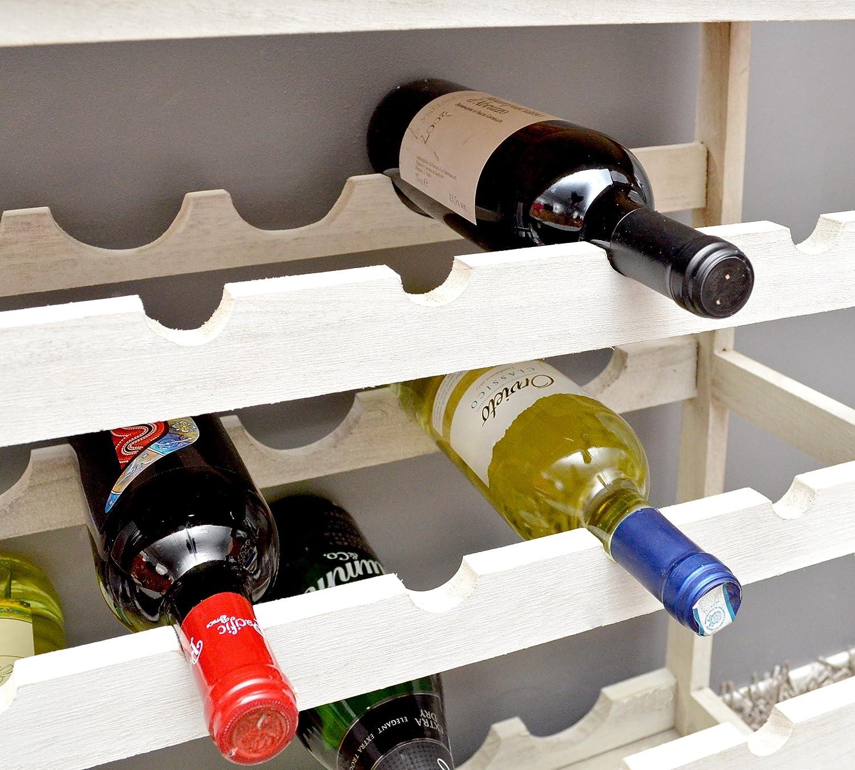 Cantinetta portabottiglie per 24 bottiglie in legno color bianco ...