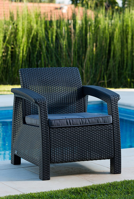 Amazon.de: Keter Lounge Sessel, Rattan, Korfu Kunststoff Lounge ...