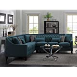 Iconic Home FSA2675-AN Aberdeen Chic Home Linen Tufted Down Mix Modern Contemporary Left Facing Sectional Sofa, Teal