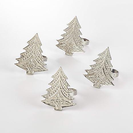 Christmas Tree Napkin Rings.Amazon Com Christmas Tree Napkin Ring Set Of 4 Color