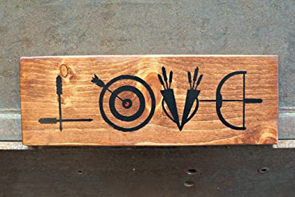 Amazon Com Rfy9u7 Archery Love Wood Signs Rustic Sign Love