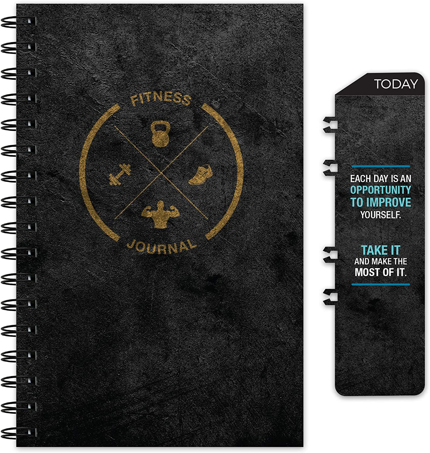 Workout Fitness Journal Nutrition Planners: Clip-in Bookmark, Sturdy Binding, Thick Pages & Laminated Protective Cover (Black & Gold)