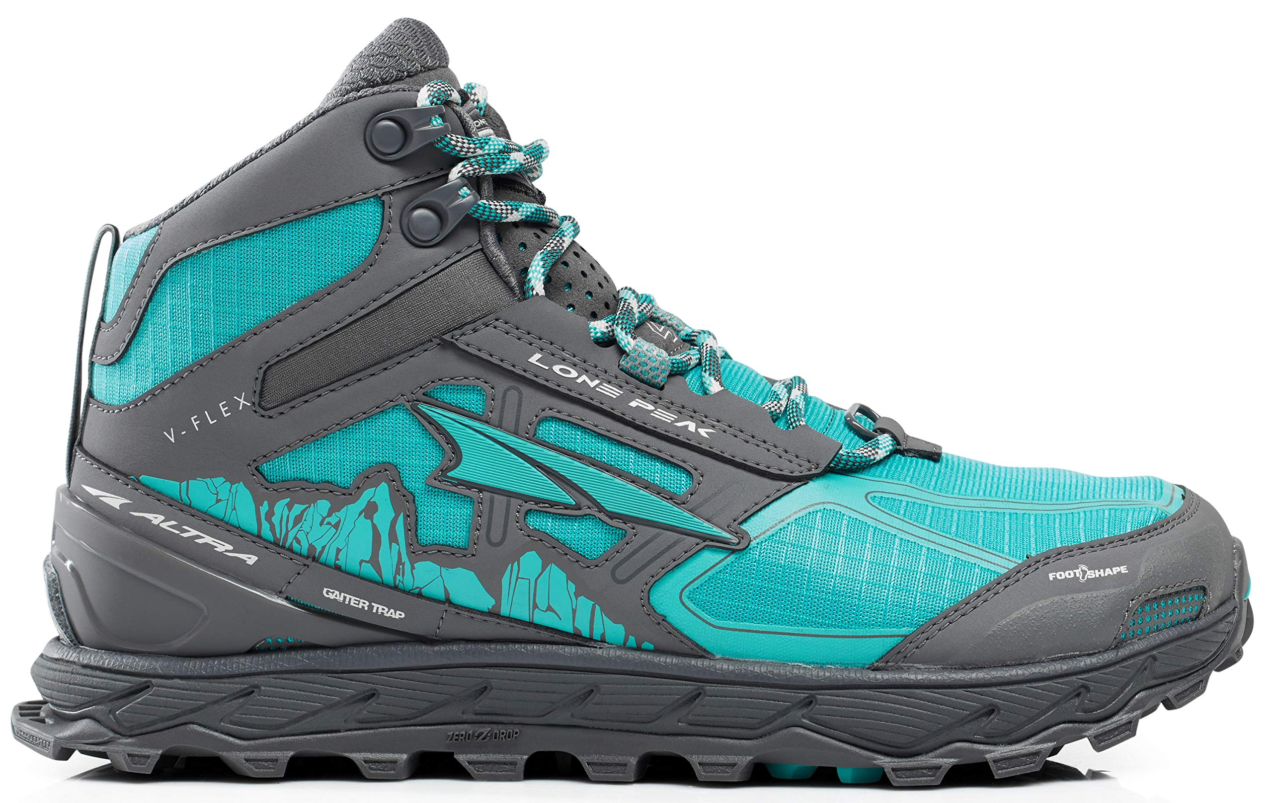 Altra Women's Lone Peak 4 Mid Mesh Trail Running Shoe, Teal/Gray - 7.5 B(M) US by Altra (Image #1)