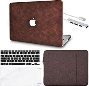 LuvCase 5 in 1 Laptop Case Compatible with MacBookPro 15 Inch Touch Bar (2016-2019) A1990/A1707 Leather HardShellCover, Sleeve, USB Hub 3.0, Keyboard Cover & Screen Protector (Brown Cow Leather)