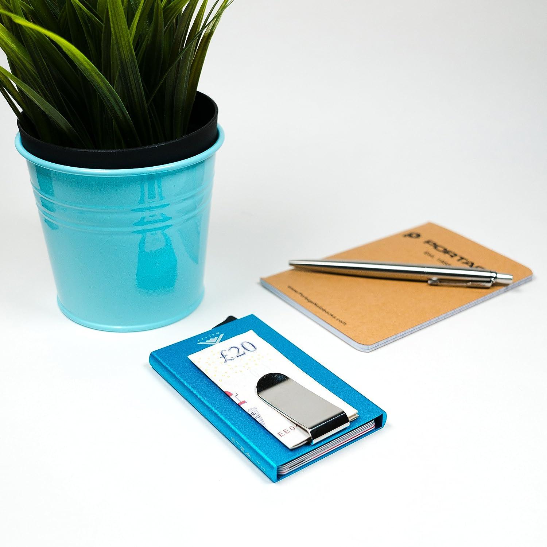 RFID-Blocking KRotitkarteninhaber Auswerfer Mappe und Geldscheinklammer Stealth Wallet Brieftasche Minimalist Aluminiummappe mit RFID-Schutz blau w//Geldklammer