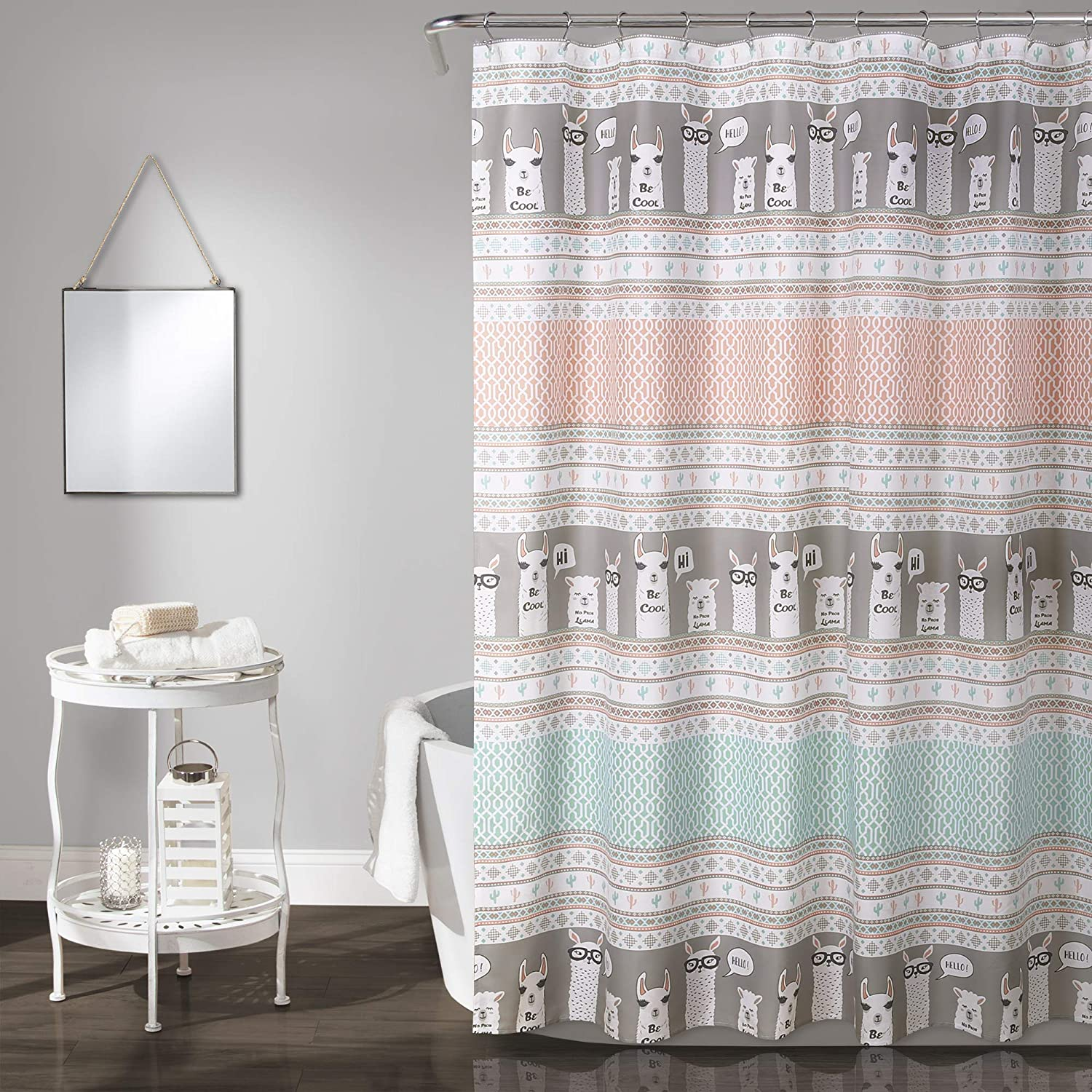 Lush Decor Llama Stripe Shower Curtain, 72