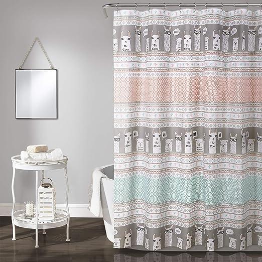 Lush Decor Llama Stripe Shower Curtain 72 x 72 Navy