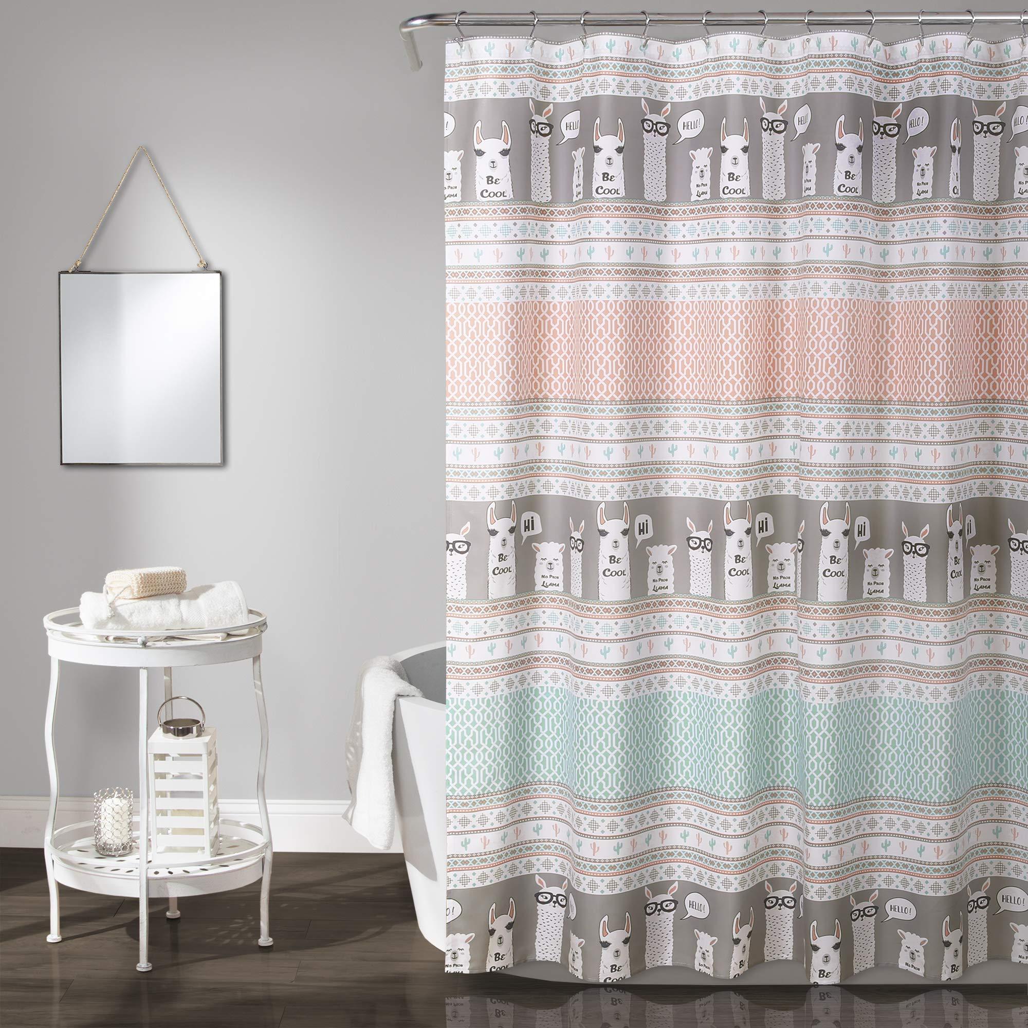 Lush Decor Llama Stripe Shower Curtain, 72'' x 72'', Pink and Turquoise