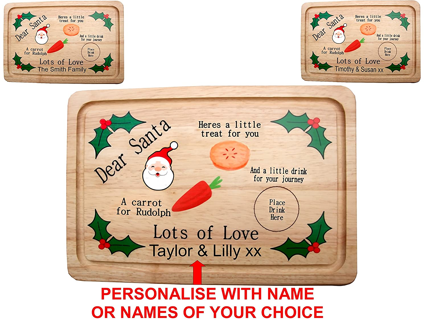 personalised full colour printed santa christmas eve treat plate