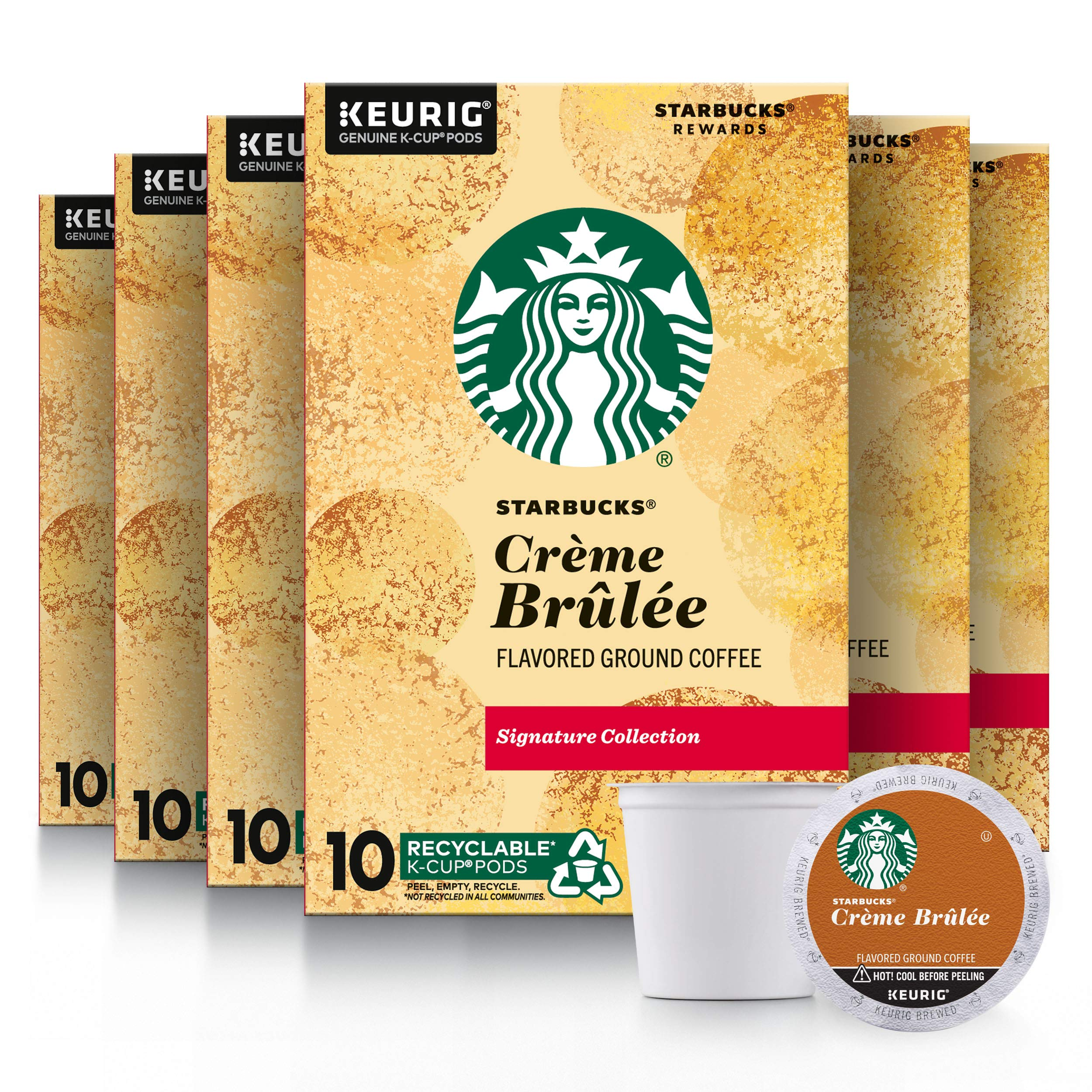Starbucks Flavored K-Cup Coffee Pods — Crème Brûlée for Keurig Brewers — 6 boxes (60 pods total)