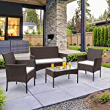 Walsunny 4 Pieces Outdoor Patio Furniture Sets