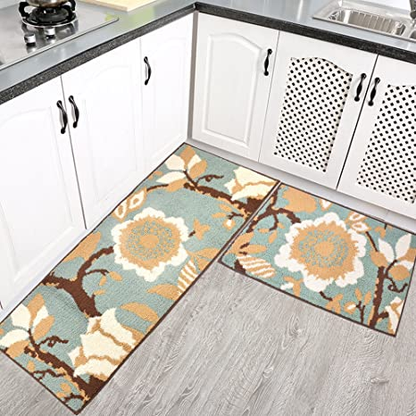 Homcomoda 2 Piece Kitchen Rugs Runnners Non Slip Rubber Backing Kitchen Mats  And Rugs Sets