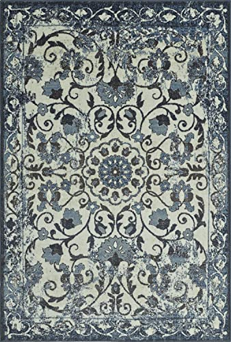 Super Area Rugs Ivory Rug Traditional, 3-Foot 3-Inch X 5-Foot 1-Inch Soft Medallion Border Rustic Distressed Vintage Antique