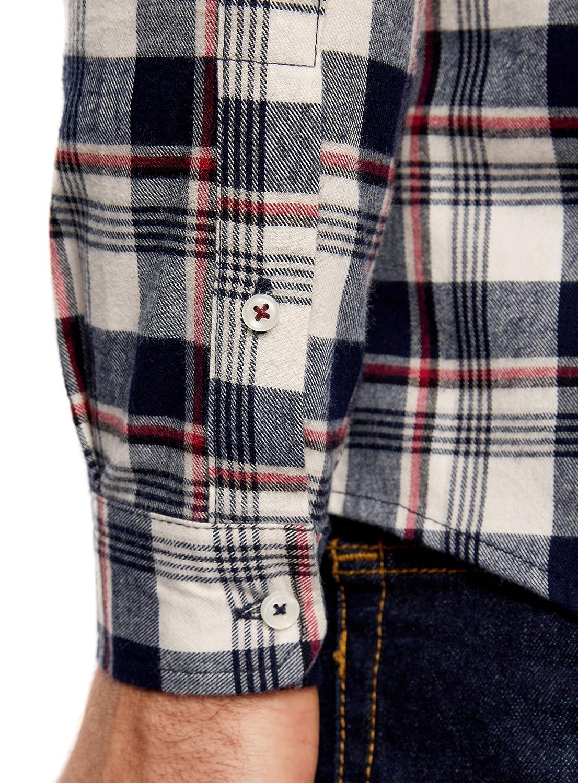 oodji Ultra Hombre Camisa de Franela a Cuadros