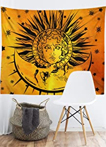 """Orange And Black sun and moon tapestry wall hanging hippie Tie Dye tapestry Yellow tapestries for bedroom room decor(60""""x51"""")"""