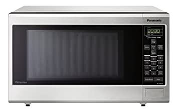 Black microwave with stainless steel handle