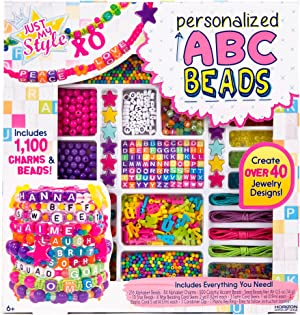Just My Style ABC Beads by Horizon Group Usa, 1000+ Charms & Beads, Alphabet Charms, Accent Beads, Seed Beads, Star Beads, Wax Beading Cord, Satin Cord & Key Ring Included, Bright