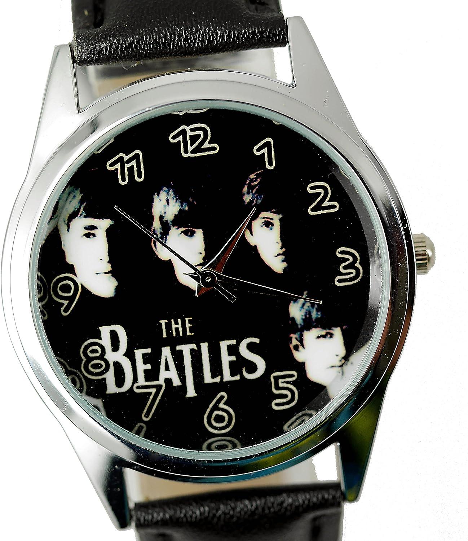 taport® The Beatles Cuarzo Ronda Reloj Negro Dial de Banda BW de Piel Real + Libre batería de Repuesto + Libre Bolsa de Regalo: Amazon.es: Relojes