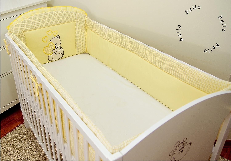 Tour de lit bébé équipement de lit protection des bords Nid Tête Protection 420 x 30cm, 360 x 30cm 100% coton avec broderie motif brodées nounours/ourson pour fille garçon (360x30cm, Orange) BELLO
