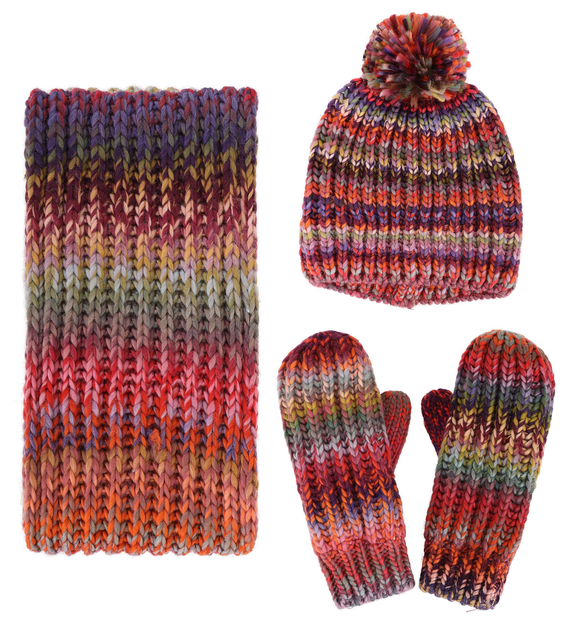 3 PCS Women Lady Fashion Warm Knitted Hat Gloves and Scarf Winter Set