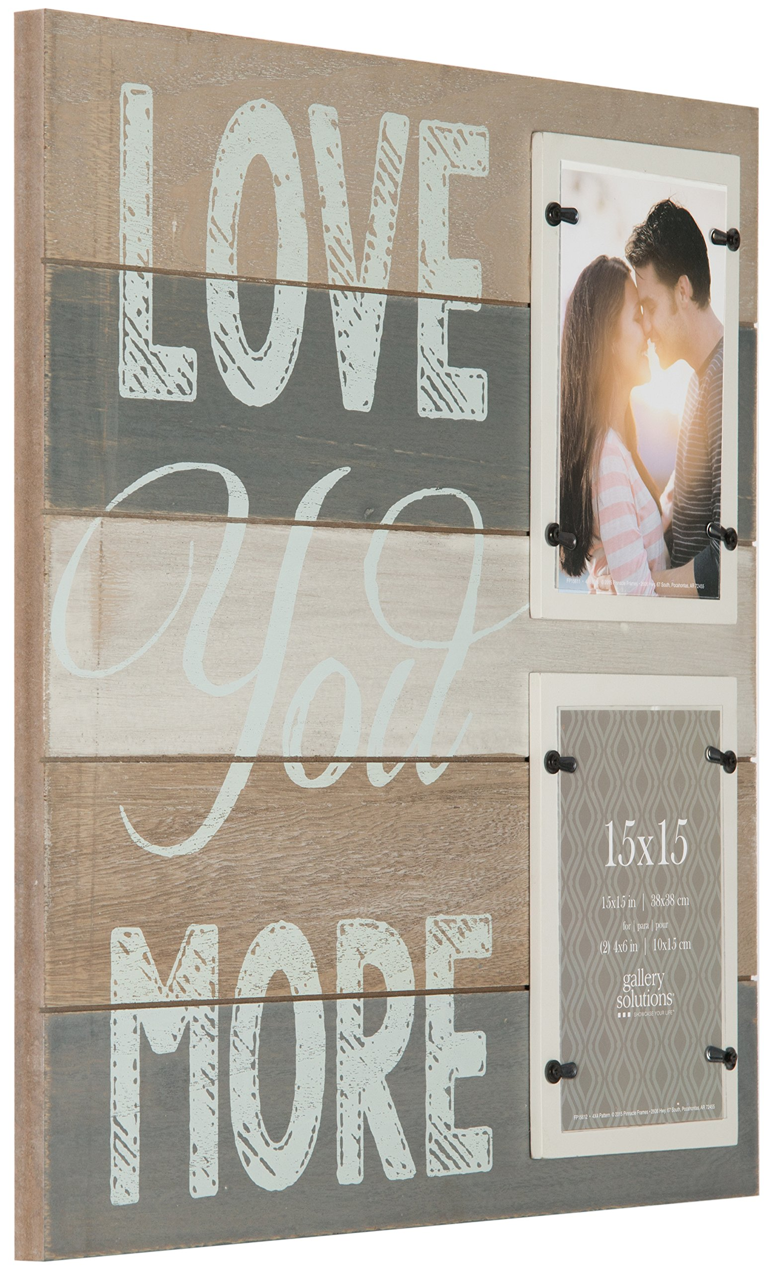 Gallery Solutions Love You More Plank Frame with 2-4X6 Openings, Brown