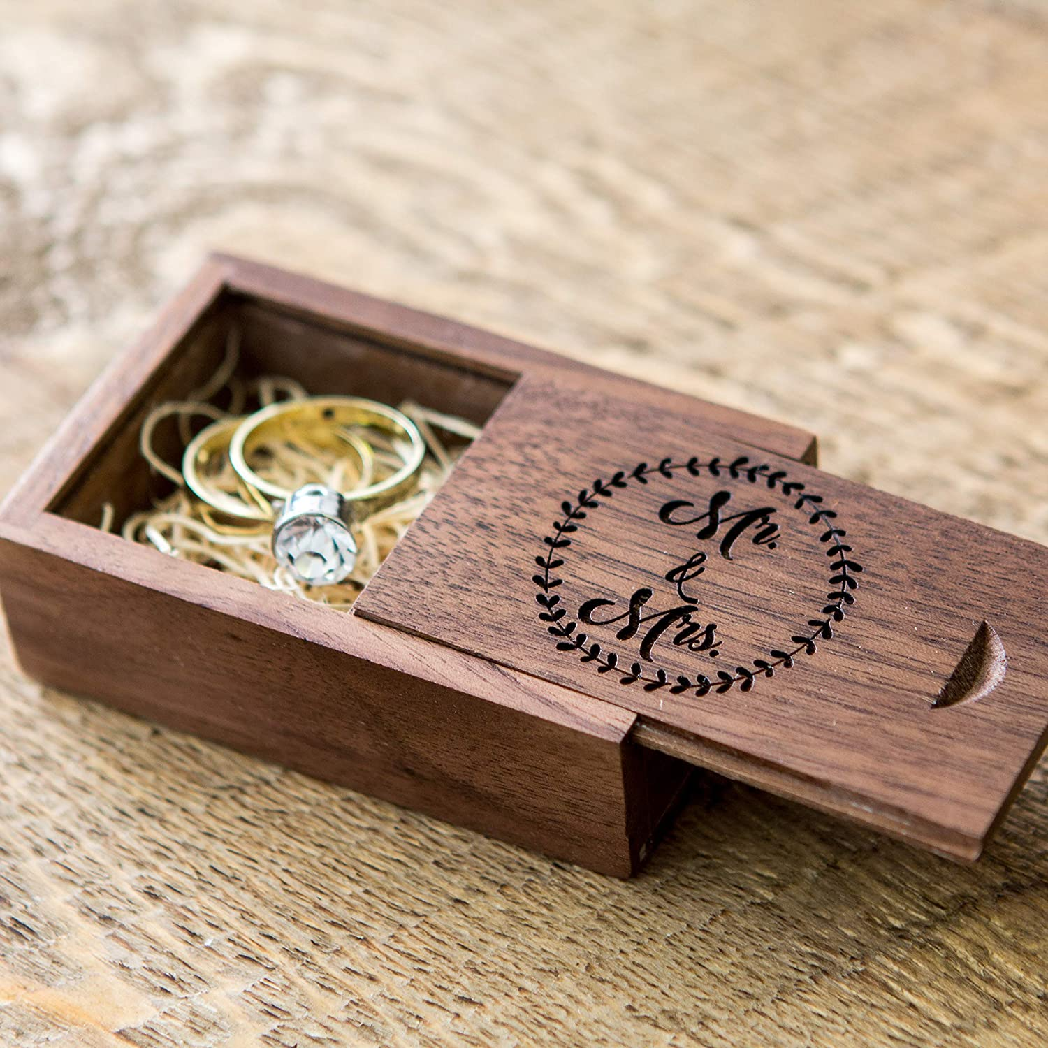 Mr Mrs Wood Wedding Ring Box Small Ring Bearer Box Engagement Proposal Ring Box