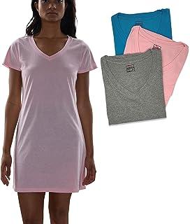 Sexy Basics Women s Cotton Soft V-Neck Sleepwear Shirt Nightwear Shirt  -Pack of 14772826b