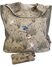 Designer Shopping Tote Bag Gift Set with Matching Purse – Certified Organic Cotton – Blue Wren Design – Multi-purpose Bag Reusable Foldable Washable – by The Linen Press