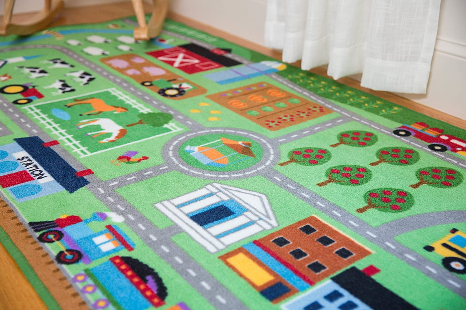 Wildkin 80x39 Inch Play Rug Vibrant Colors Features Durable Design Olive Kids Design and Skid-Proof Backing ABCs