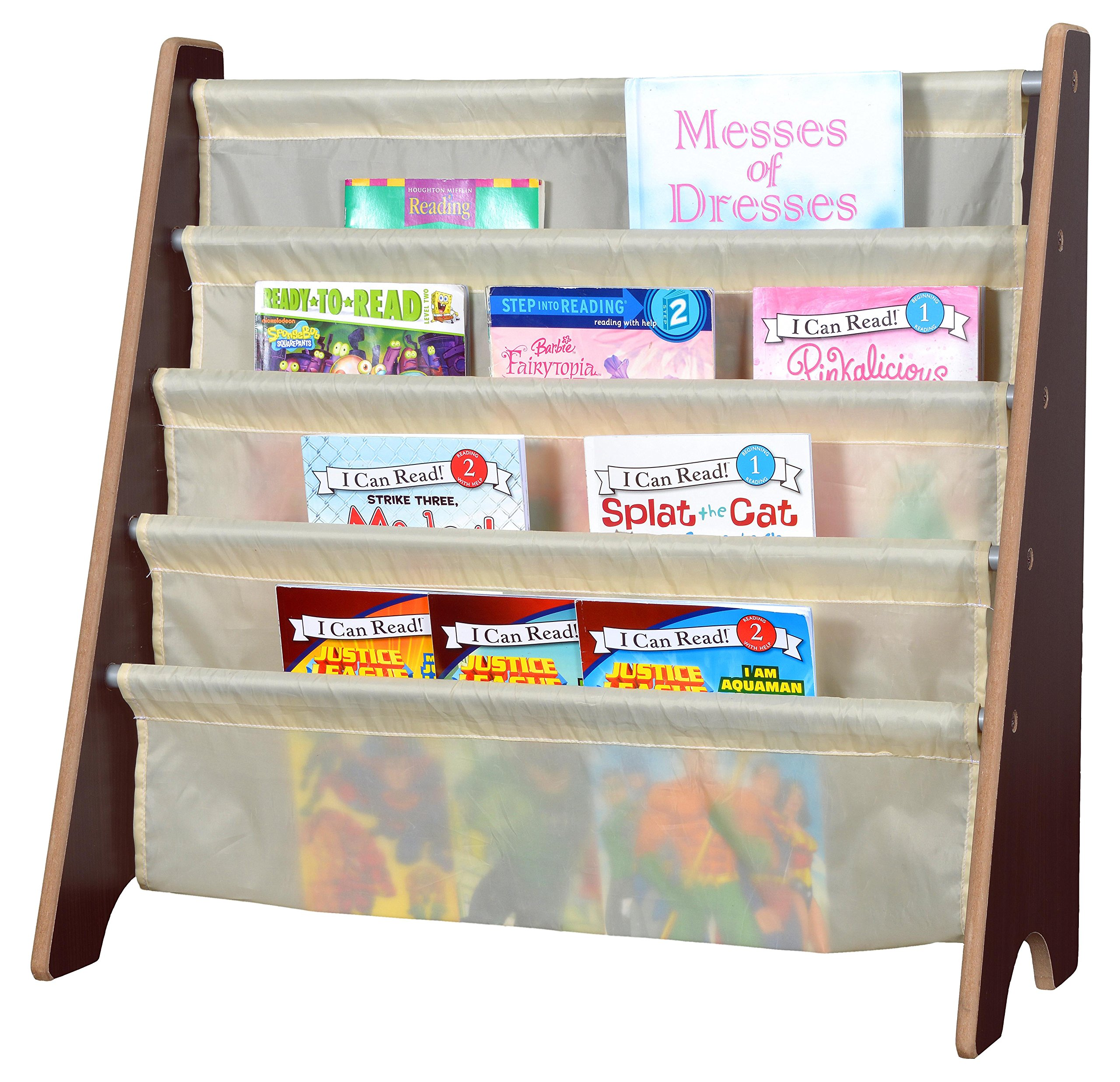 Naomi Home Kids Toy Sling Book Rack, Cream/Espresso