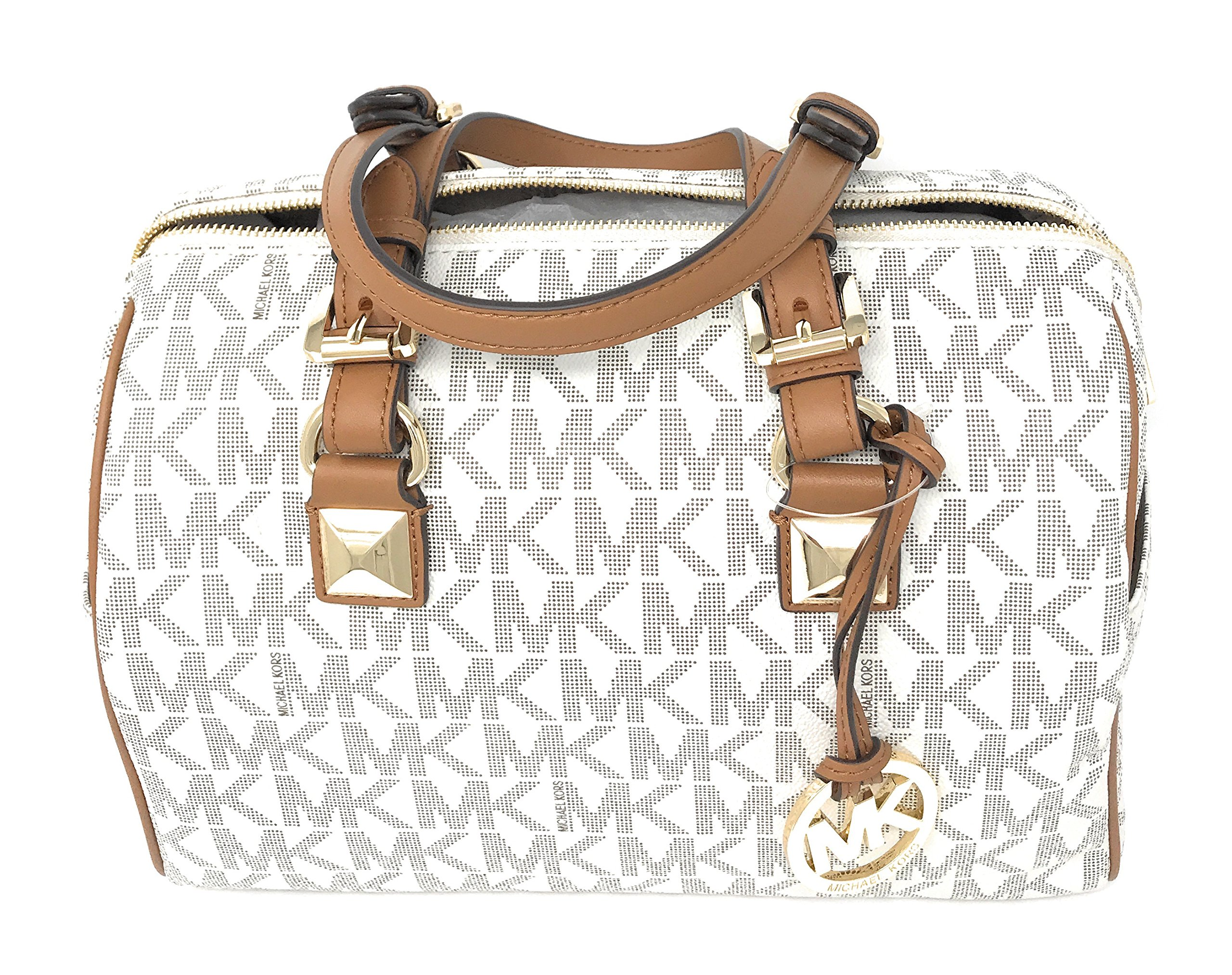 Michael Kors Grayson Medium Chain Satchel Signature (Vanilla/Acorn)