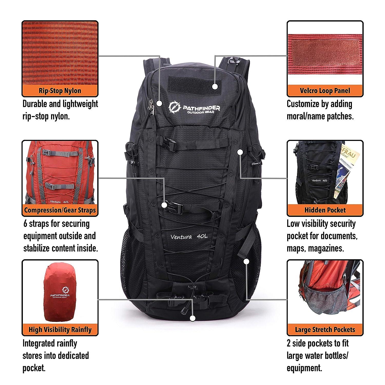 Ventura 40L Outdoor Travel Backpack Black