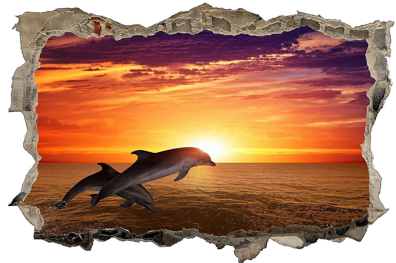 3D-Look Fenster Wandtattoo Aufkleber-Sticker Sonneaufgang Meer
