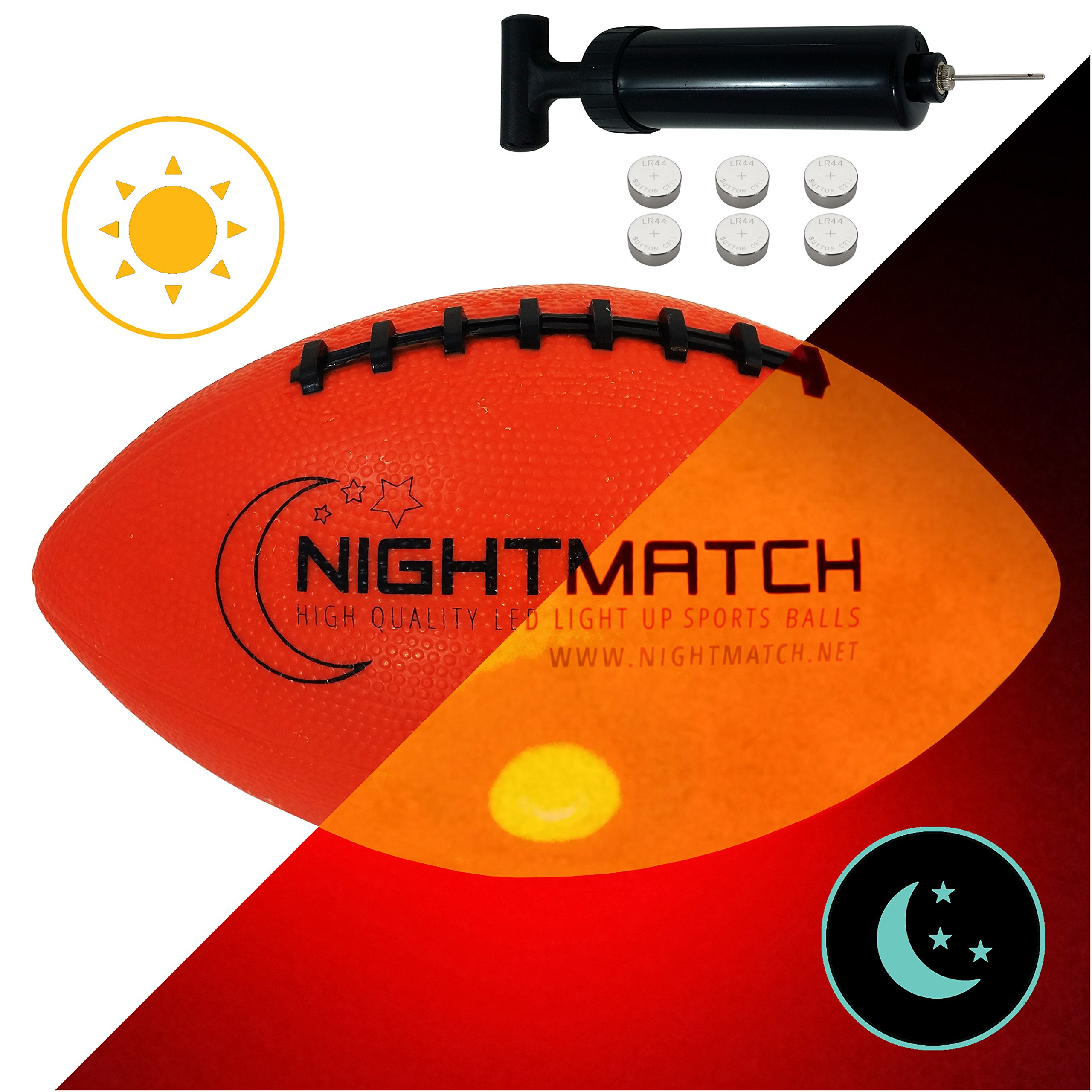 NightMatch Light Up Football INCL BALL PUMP and SPARE BATTERIES - Inside LED lights up when kicked - Glow in the Dark Football - Size 6 - Official Size & Weight - Top Quality - Night-Light Ball Sports