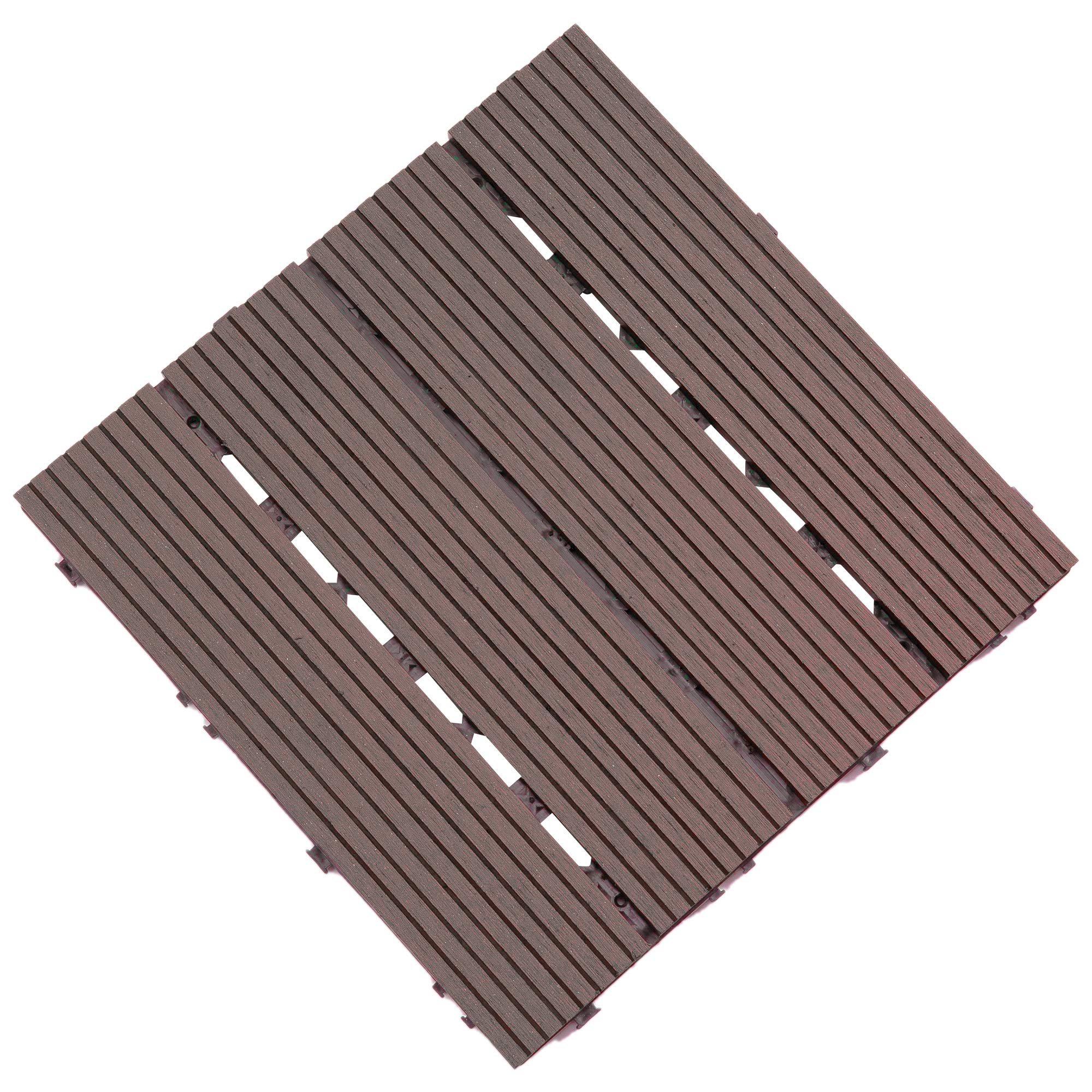 Samincom Patio Outdoor Four Slat Wood-Plastic Composite Interlocking Decking Tile, Water Resistant Flooring Tiles Indoor Outdoor, 12''× 12'', Pack of 11 (11 sq.ft) Coffee by Samincom
