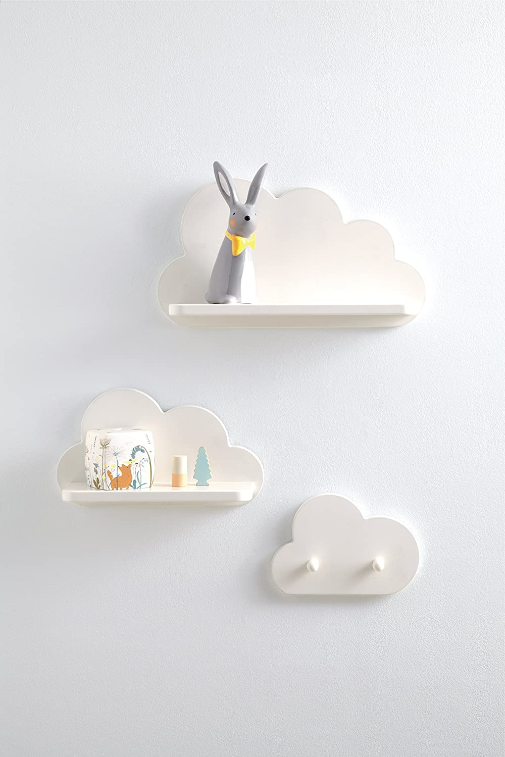White Floating Cloud Shelves