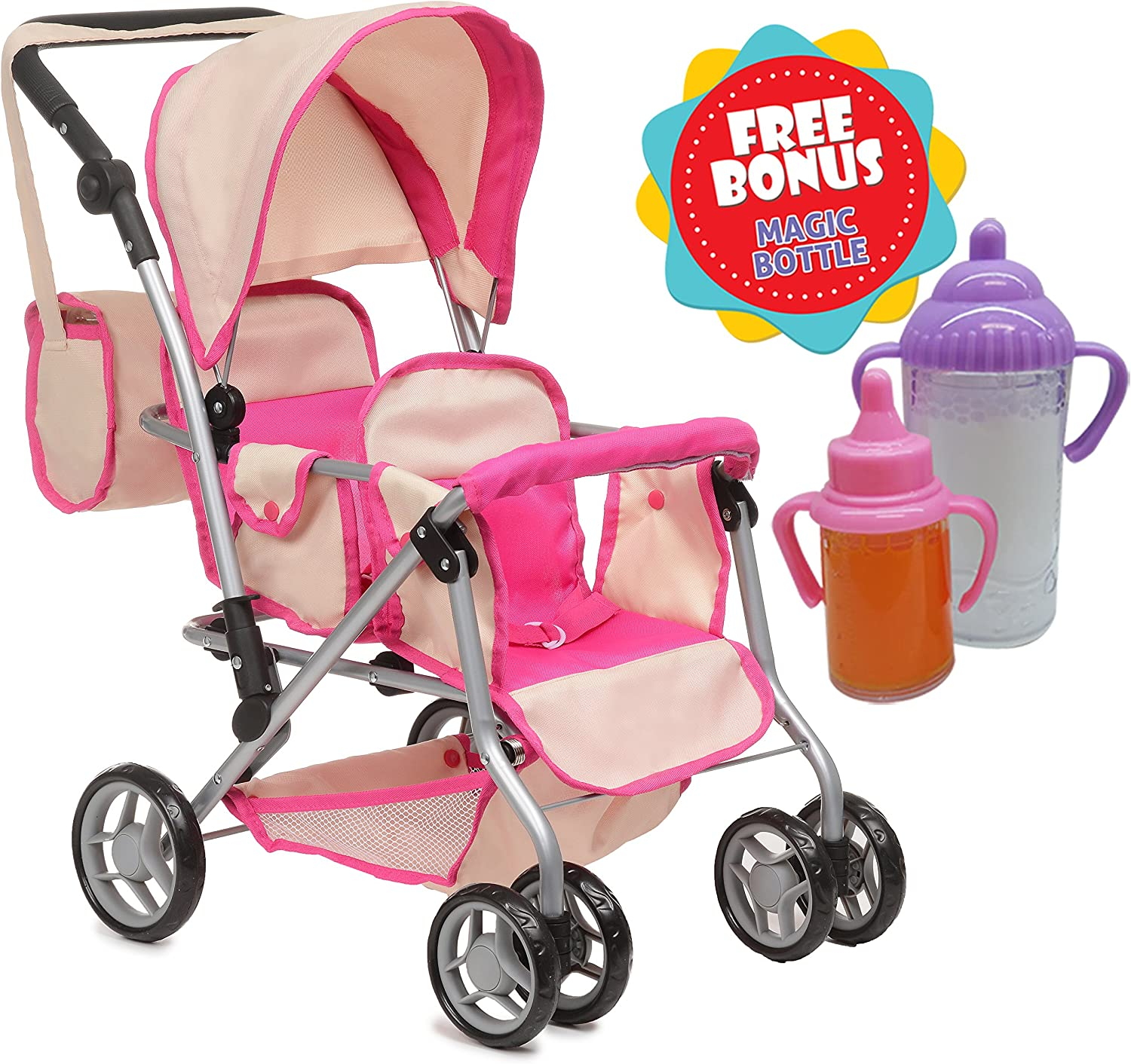 Exquisite Buggy, Twin Doll Stroller with Diaper Bag and Swivel Wheels-Soft Pink & Off-White Design with 2 Free Magic Bottles