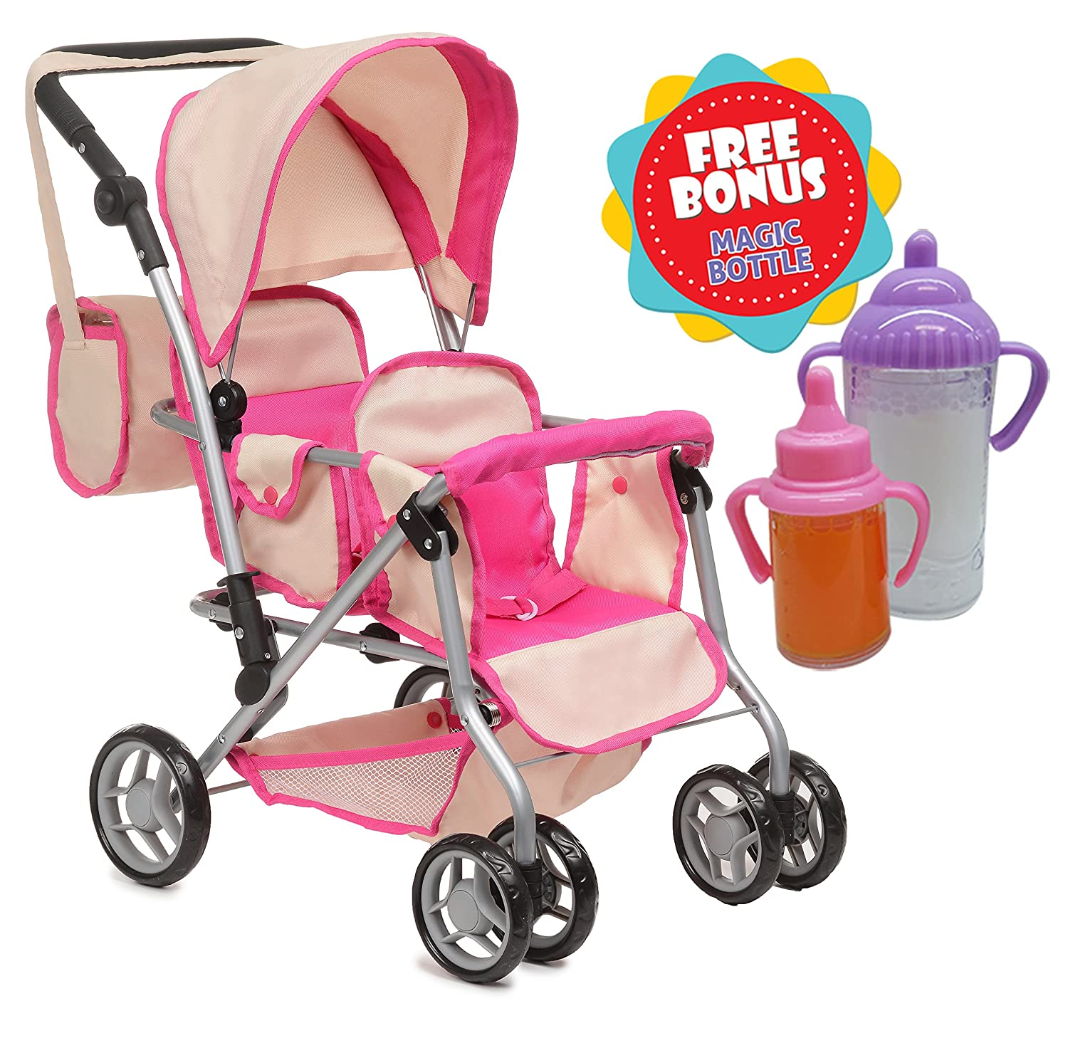 Exquisite Buggy TWIN DOLL Stroller with Diaper Bag and Swivel Wheels Soft Pink & f White Design With 2 FREE Magic Bottles