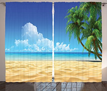 Ambesonne Ocean Curtains Beach Decor By Palm Tree Leaves On Golden Tropical Sand Sea Landscape